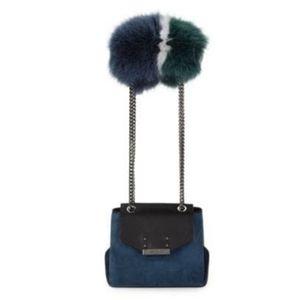 🏷SALE🏷Santoni🖤Mini Fox Fur-Trim Leather & Suede Bag NWT